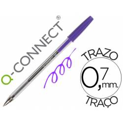 Boligrafo transparente Q-Connect Morado de 0,7 mm