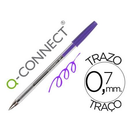 Boligrafo transparente Q-Connect Morado de 0,7 mm
