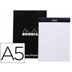 Bloc de notas perforado Rhodia Din A5 liso Negro