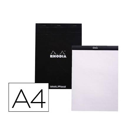 Bloc de notas perforado Rhodia Din A4 liso Negro