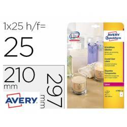 Etiqueta adhesiva Avery 210x297 mm Transparente permanete láser caja 25