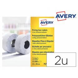 Etiquetas adhesivas Avery Permanentes 26x12 mm Blanca rollo de 1500 unidades