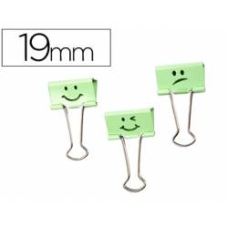 Pinza Metalica Rapesco Emojis color Verde Reversible 19 mm