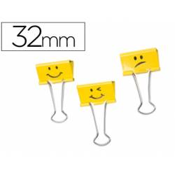 Pinza Metalica Emojis Amarillo Reversible 32 mm Rapesco