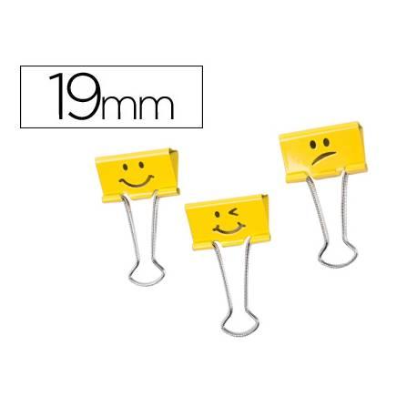 Pinza Metalica Emojis marca Rapesco Amarillo Reversible 19 mm