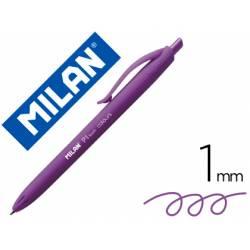 Bolígrafo retráctil milán P1 de color lila de 1 mm