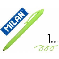 Bolígrafo retráctil milán P1 de color verde claro 1 mm