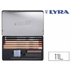 Lápices Lyra rembrandt con accesorios para esbozos caja de 11 unidades