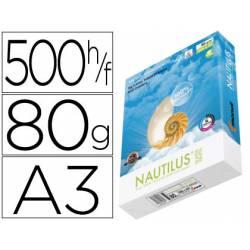 Papel multifunción A3 Nautilus superwhite reciclado 80 g/m2