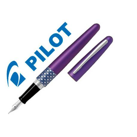 Pluma Pilot Urban MR Retro Pop Plumín Metálico con Estuche Color Violeta