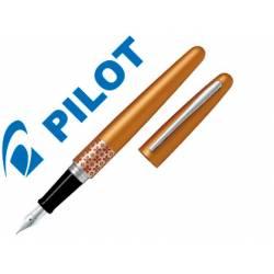 Pluma Pilot Urban MR Retro Pop Plumín Metálico con Estuche Color Naranja