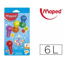 Lápices de cera Maped Color Peps Baby Crayon 6 colores surtidos