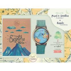 Pack ecologico vegetal Reloj Mundo + Libreta papel reciclado + papel semilla plantable + arbol plantado Vegetal Watches
