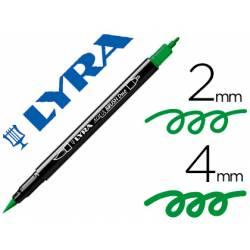 Rotulador Lyra aqua brush acuarelable doble punta fina y pincel verde