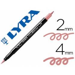 Rotulador Lyra aqua brush acuarelable doble punta fina y pincel rosa carmin