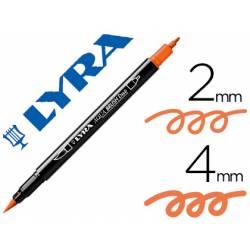 Rotulador Lyra aqua brush acuarelable doble punta fina y pincel naranja claro
