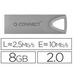 Memoria usb 8 Gb marca Q-Connect 2.0 Flash Premium Plateado