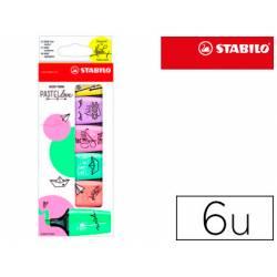 Rotulador Stabilo Boss Mini Pastellove Estuche con 6 Unidades Colores surtidos