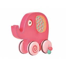 Juego para bebes a partir de 1 año Arrastre Elefante Rosa Fiesta Crafts