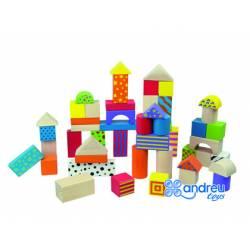 Juego de construccion a partir de 2 años bloques de madera 50 piezas Ambitoys