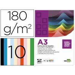 Cartulina marca Liderpapel 10 colores surtidos DIN A3 180 g/m2