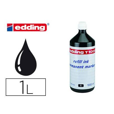 Tinta Rotulador Permanente Edding T-1000 Color Negro Frasco de 1 litro