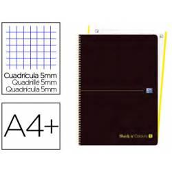Cuaderno Oxford Ebook 1 DIN A4+ Negro y Lima 80 hojas Tapa Plastico Cuadricula 5 mm