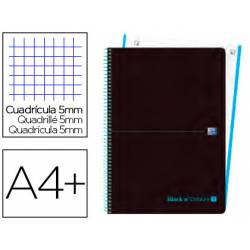 Cuaderno Oxford Ebook 1 DIN A4+ Negro y Turquesa 80 hojas Tapa Plastico Cuadricula 5 mm