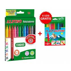 Rotuladores Alpino Standard 12 colores + Lapices plastialpino 12 colores surtidos