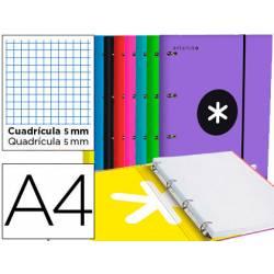 Carpeta con recambio Antartik A4 4 anillas 40 mm de Carton forrado Colores surtidos Sin Solapa