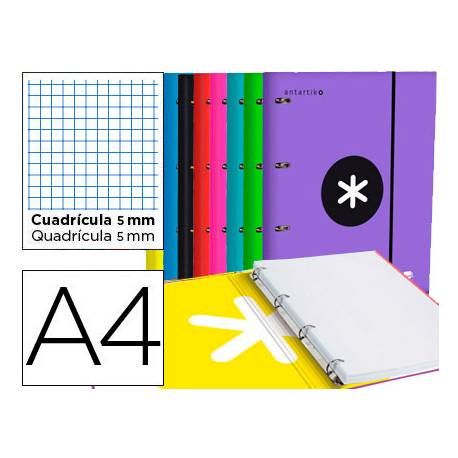 Carpeta con recambio Antartik A4 4 anillas 25 mm de Carton forrado Colores surtidos