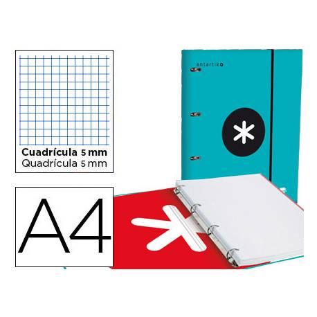 Carpeta con recambio Antartik A4 4 anillas 40 mm de Cartón forrado color Turquesa con solapa