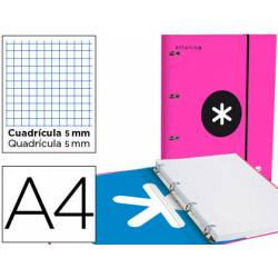 Carpeta con recambio Antartik A4 4 anillas 40 mm de Cartón forrado color Rosa con solapa