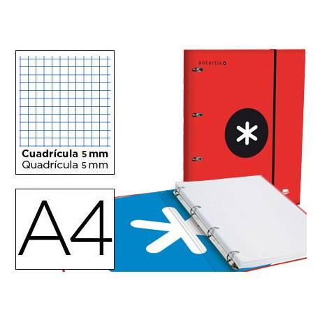 Carpeta con recambio Antartik A4 4 anillas 40 mm de Cartón forrado color Rojo con solapa