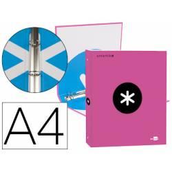 Carpeta 4 anillas 25mm Liderpapel Antartik A4 color rosa carton forrado