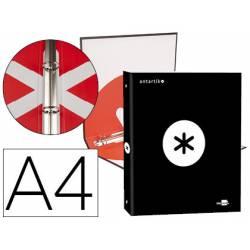 Carpeta 4 anillas 25mm Liderpapel Antartik A4 color negro carton forrado