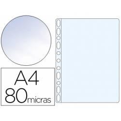 Funda Multitaladro Q-Connect Din A4 80 MC Cristal Caja de 100 unidades