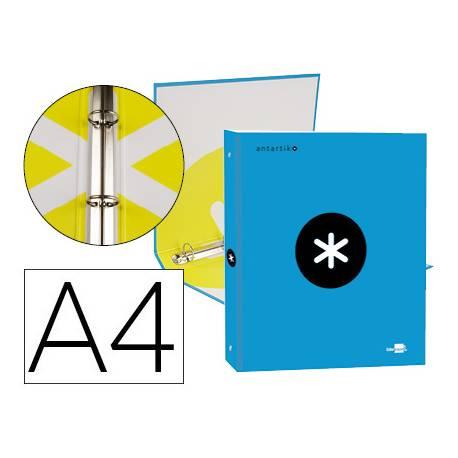 Carpeta 4 anillas 25mm Liderpapel Antartik A4 color azul carton forrado