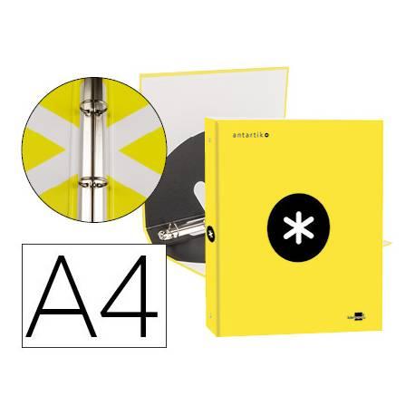 Carpeta 4 anillas 25mm Liderpapel Antartik A4 color amarillo carton forrado