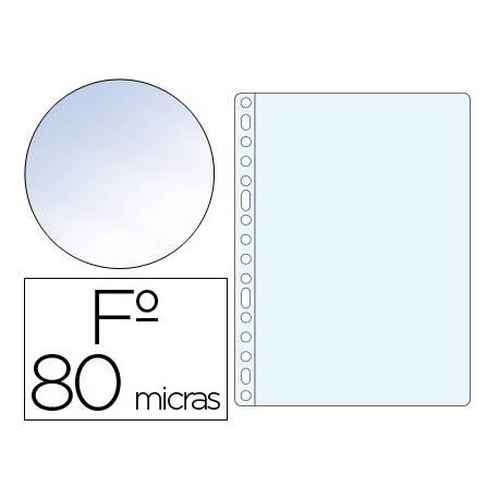 Funda Multitaladro Q-Connect Tamaño Folio 80 MC Cristal. Caja 100 unidades