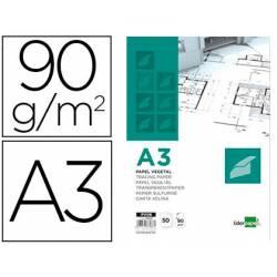 Bloc Papel Vegetal Liderpapel DIN A3 90g/m2 Encolado Pack de 50 hojas