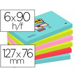 Bloc Quita y Pon Post-It ® Super Sticky 76X127 mm Colores Miami