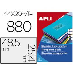 Etiqueta adhesiva Apli transparente de 48,5 X 25,4