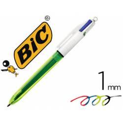 Boligrafo Bic 3 colores más amarillo fluor