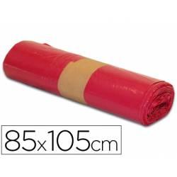 Bolsa basura roja 85x105cm uso industrial galga 110 rollo 10 unidades