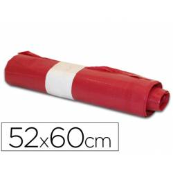 Bolsa basura domestica roja 52x60cm galga 70 rollo 20 unidades