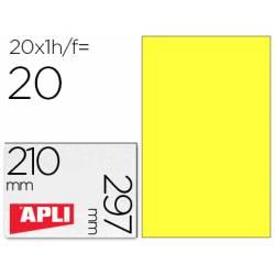 Etiqueta Adhesiva Apli 210x297 mm Color Amarillo Fluorescente Caja con 20 hojas