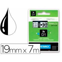 Cinta Dymo D1 negro y transparente 19mm x 7 mt