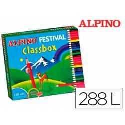 Lapices de colores alpino festival classbox caja 288 unidades 12 colores + sacapuntas