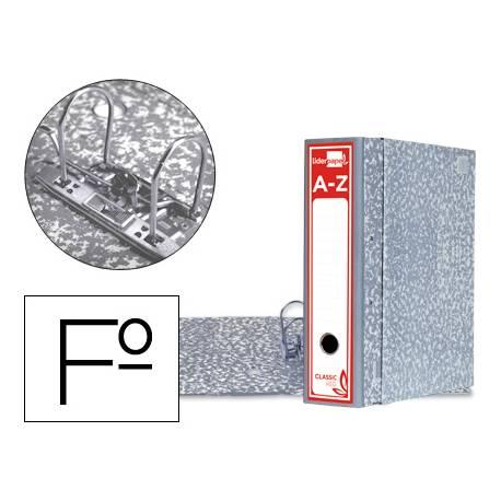 Archivador de palanca Liderpapel carton forrado folio gris lomo 80mm Jaspeado